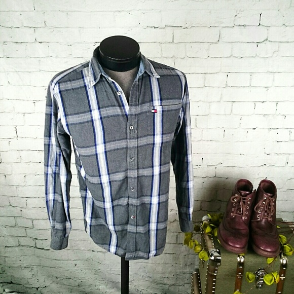 a6b299ca GUC Tommy Hilfiger gray plaid flannel shirt. M_5a73617d5521be724a468c85